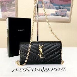 Saint Laurent Black Caviar Long Wallet/Crossbody Bag 💼